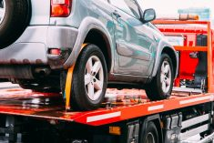 A car being towed